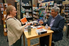 Jeff talking to woman during book signing - small file