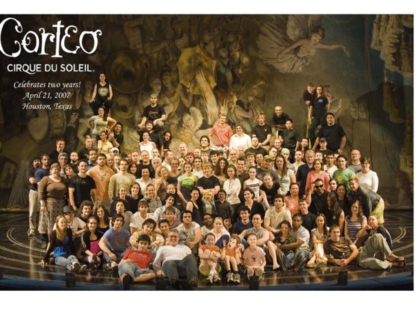The cast of Cirque du Soleil Corteo