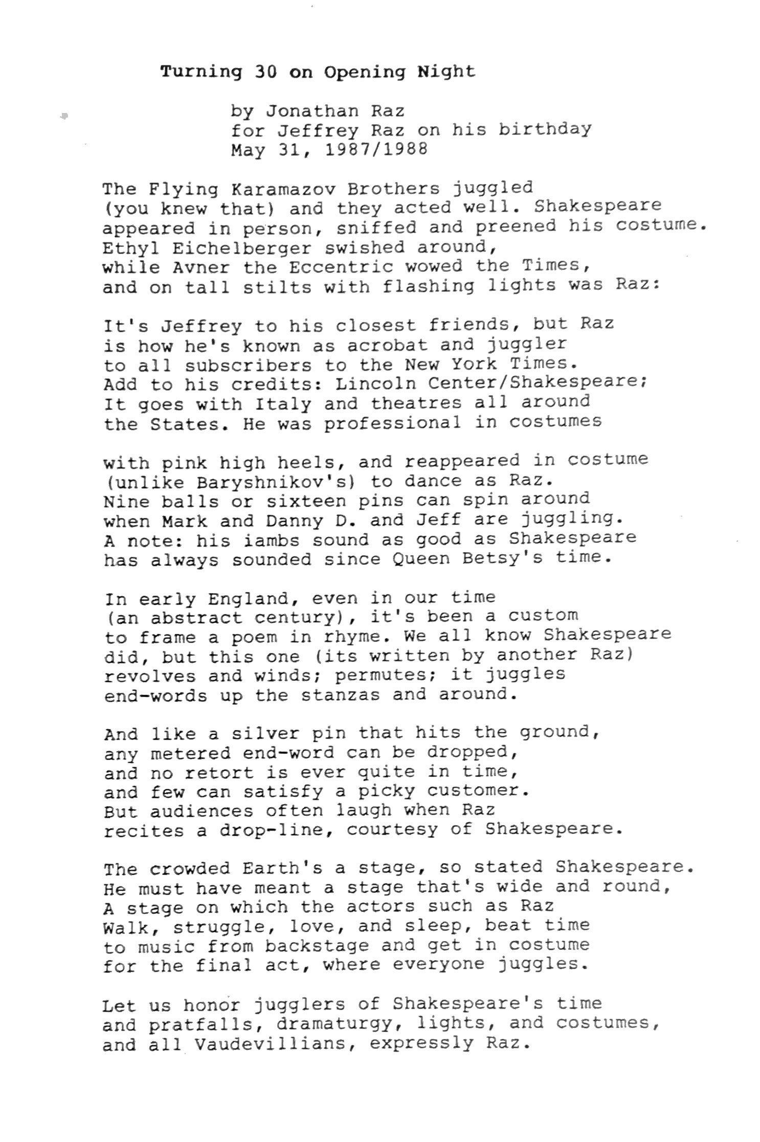 Jon's Poem